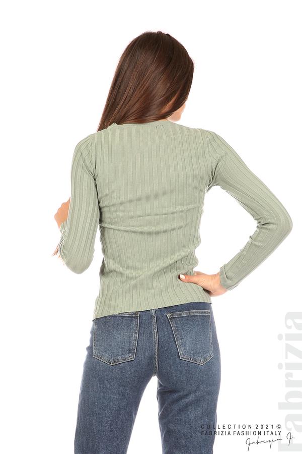 Едноцветна рипсена блуза каки 6 fabrizia
