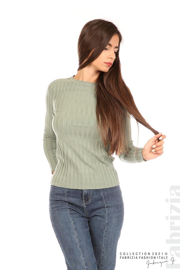 Едноцветна рипсена блуза каки 5 fabrizia