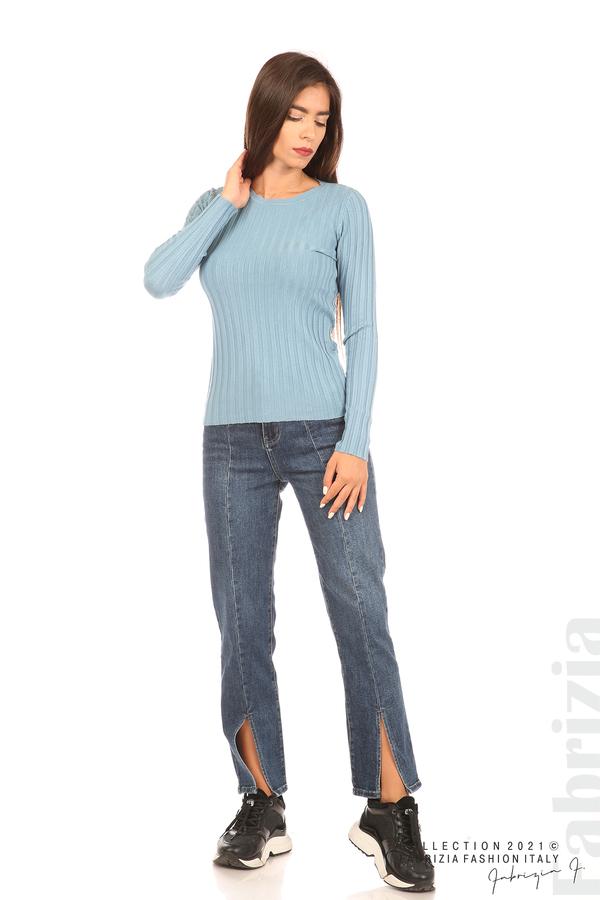 Едноцветна рипсена блуза св.син 3 fabrizia