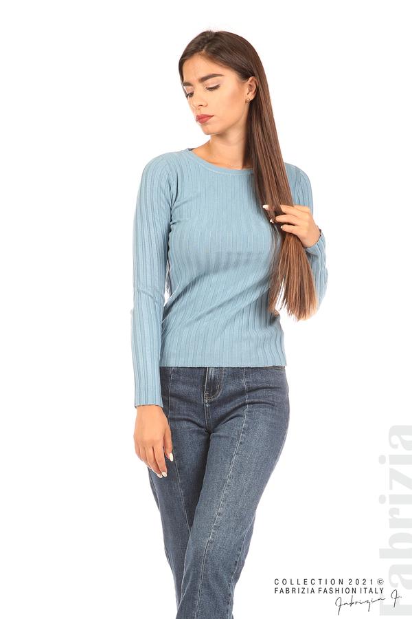 Едноцветна рипсена блуза св.син 5 fabrizia