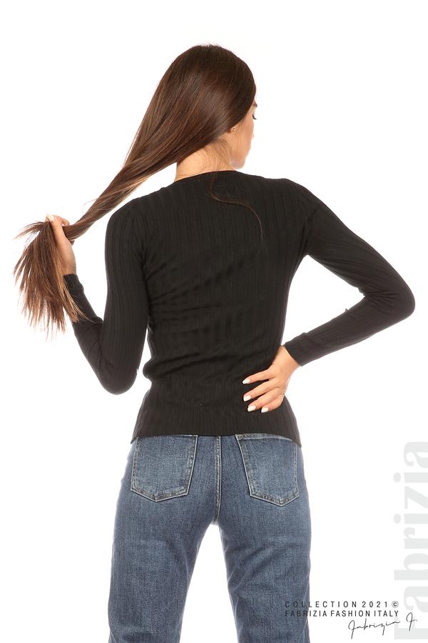 Едноцветна рипсена блуза черен 6 fabrizia