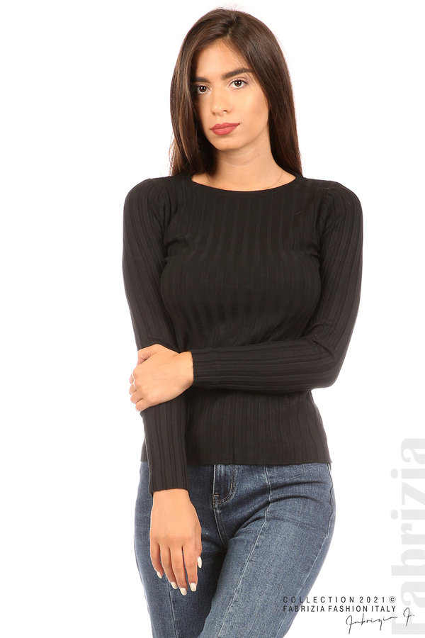 Едноцветна рипсена блуза черен 2 fabrizia