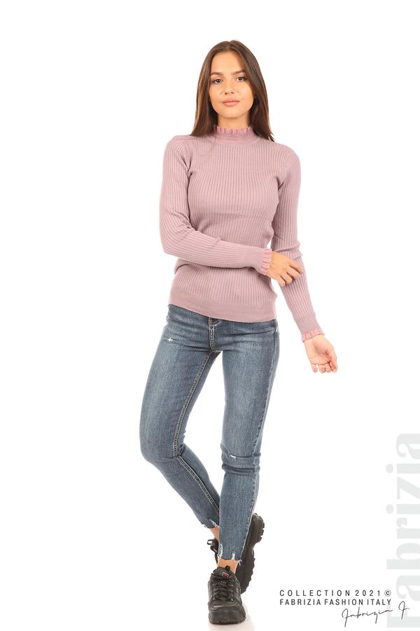 Рипсена блуза с тюлен акцент виолетов 3 fabrizia