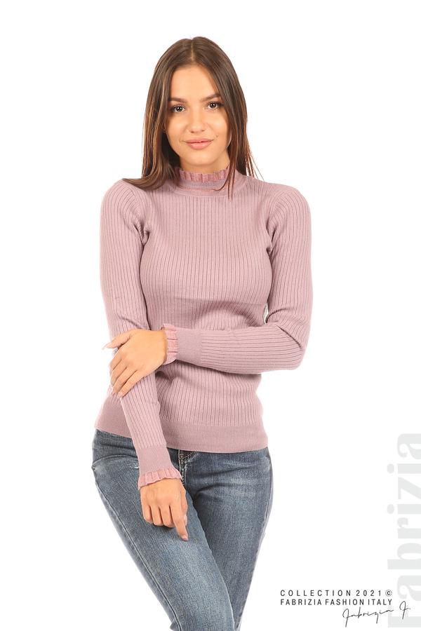 Рипсена блуза с тюлен акцент виолетов 1 fabrizia