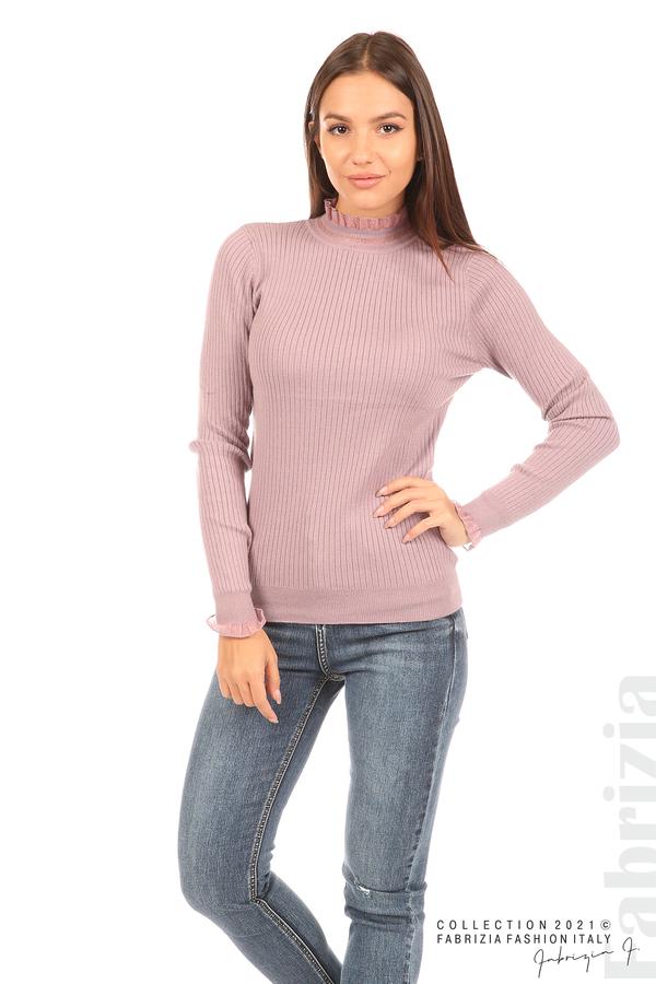 Рипсена блуза с тюлен акцент виолетов 4 fabrizia