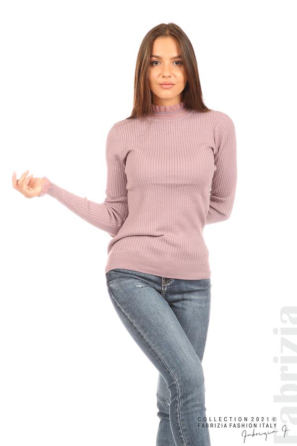 Рипсена блуза с тюлен акцент виолетов 5 fabrizia