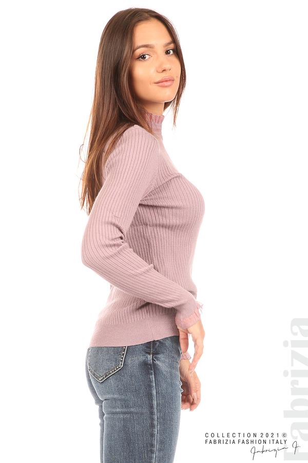 Рипсена блуза с тюлен акцент виолетов 2 fabrizia