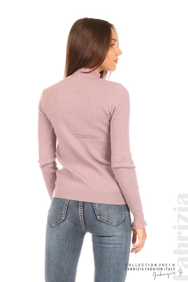 Рипсена блуза с тюлен акцент виолетов 6 fabrizia