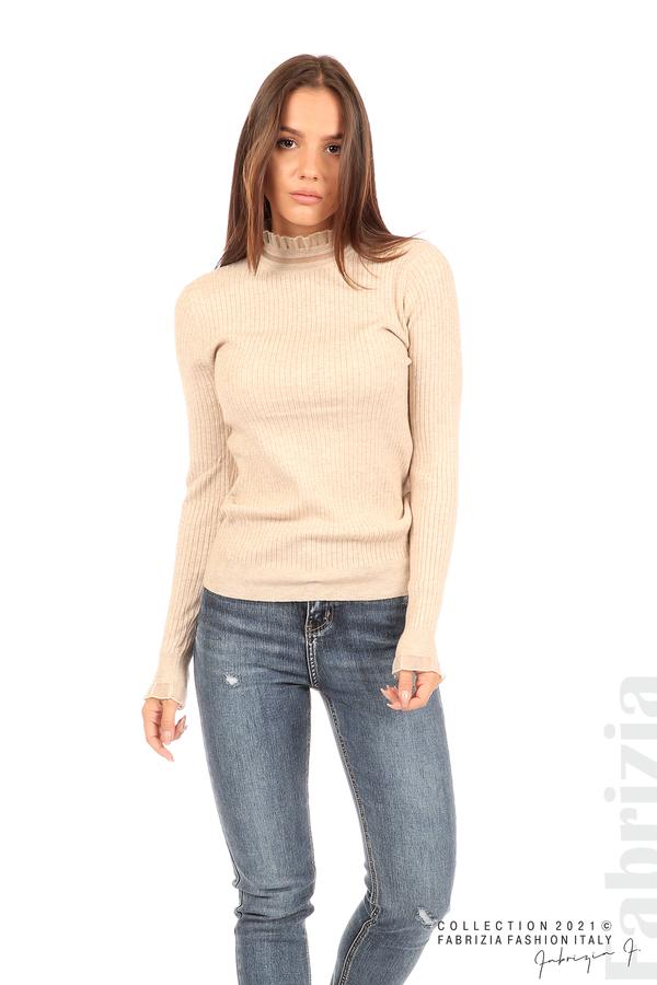 Рипсена блуза с тюлен акцент бежов 4 fabrizia