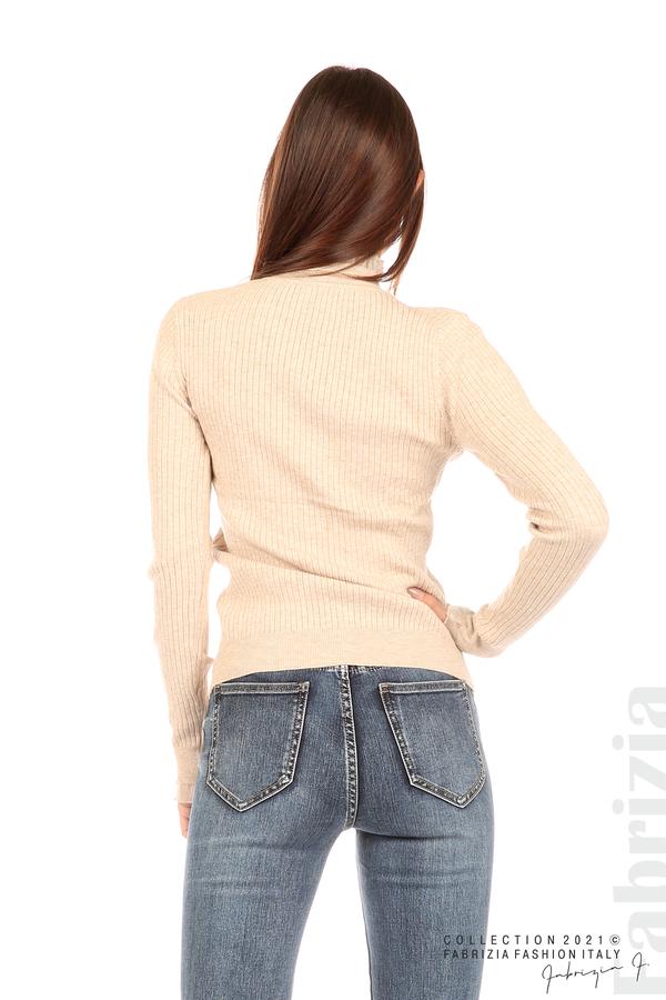 Рипсена блуза с тюлен акцент бежов 6 fabrizia