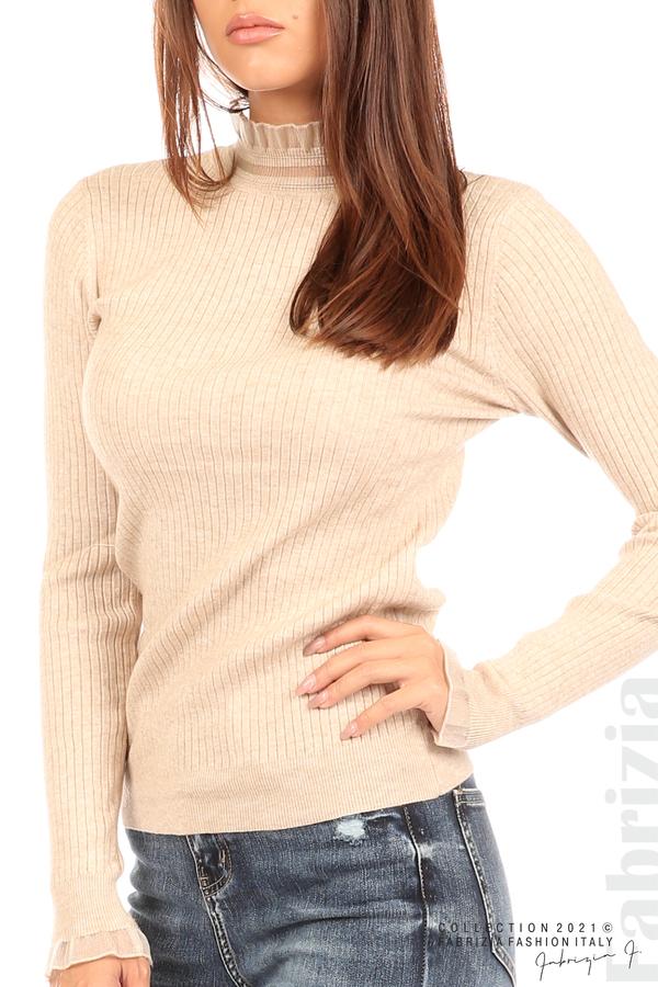 Рипсена блуза с тюлен акцент бежов 2 fabrizia