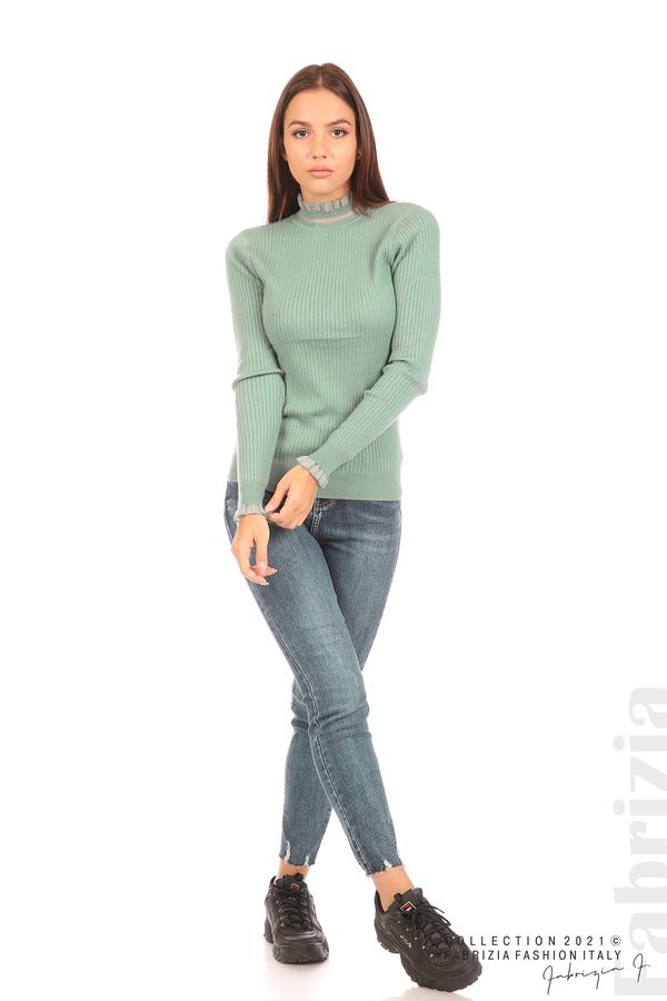 Рипсена блуза с тюлен акцент бл.зелен 3 fabrizia