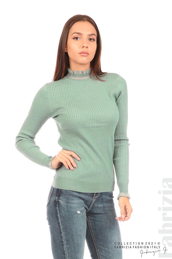 Рипсена блуза с тюлен акцент бл.зелен 4 fabrizia