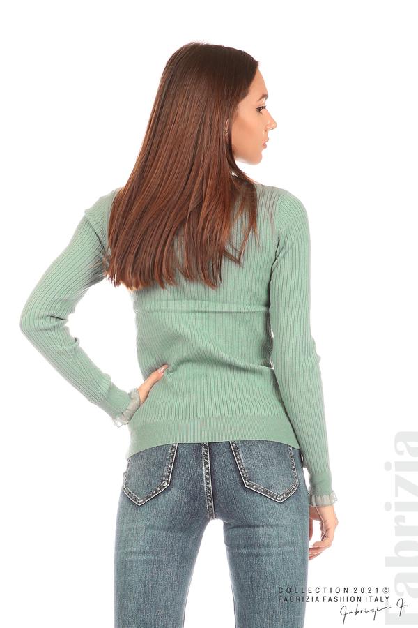 Рипсена блуза с тюлен акцент бл.зелен 6 fabrizia