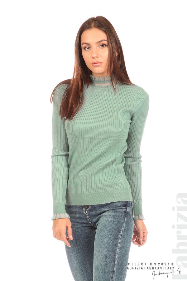 Рипсена блуза с тюлен акцент бл.зелен 1 fabrizia