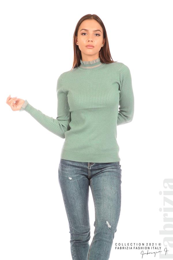 Рипсена блуза с тюлен акцент бл.зелен 5 fabrizia