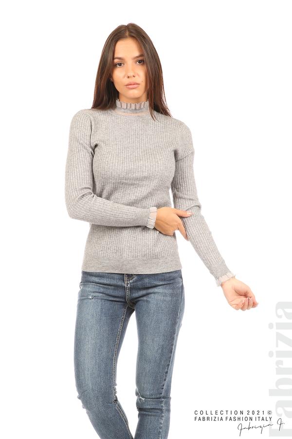 Рипсена блуза с тюлен акцент сив 1 fabrizia