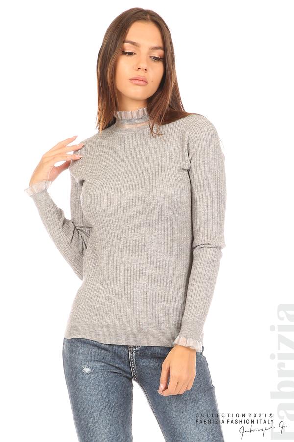 Рипсена блуза с тюлен акцент сив 4 fabrizia