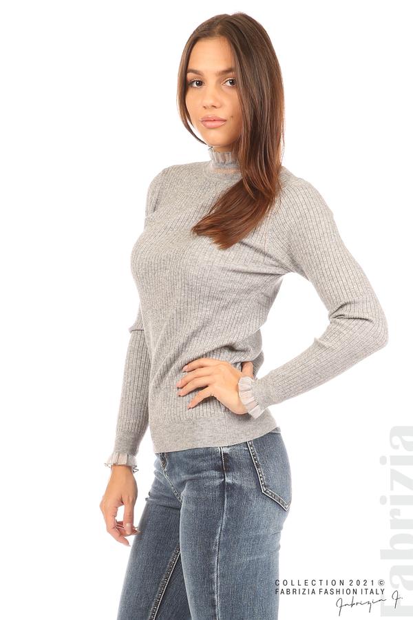 Рипсена блуза с тюлен акцент сив 5 fabrizia