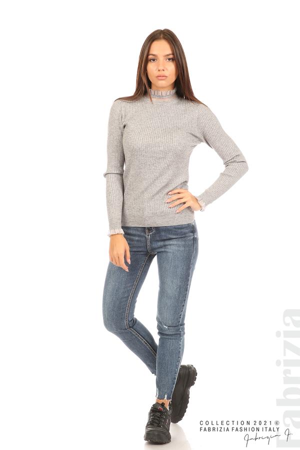 Рипсена блуза с тюлен акцент сив 3 fabrizia
