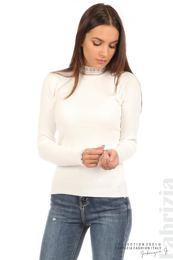 Рипсена блуза с тюлен акцент бял 5 fabrizia