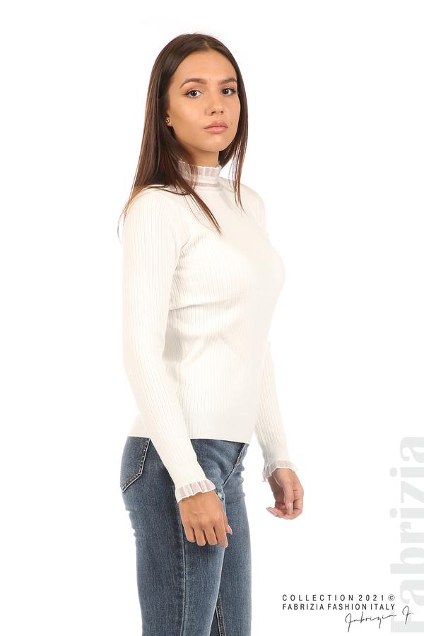 Рипсена блуза с тюлен акцент бял 1 fabrizia