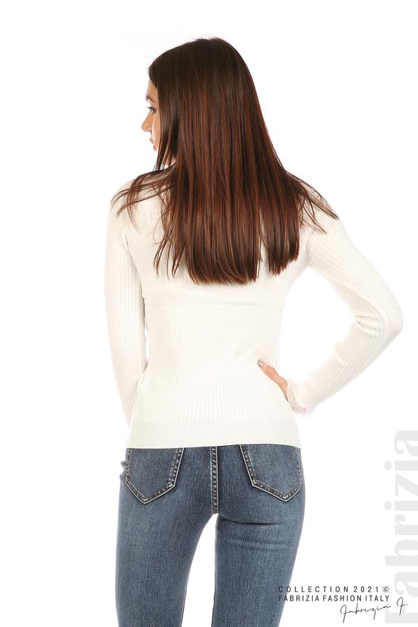 Рипсена блуза с тюлен акцент бял 6 fabrizia