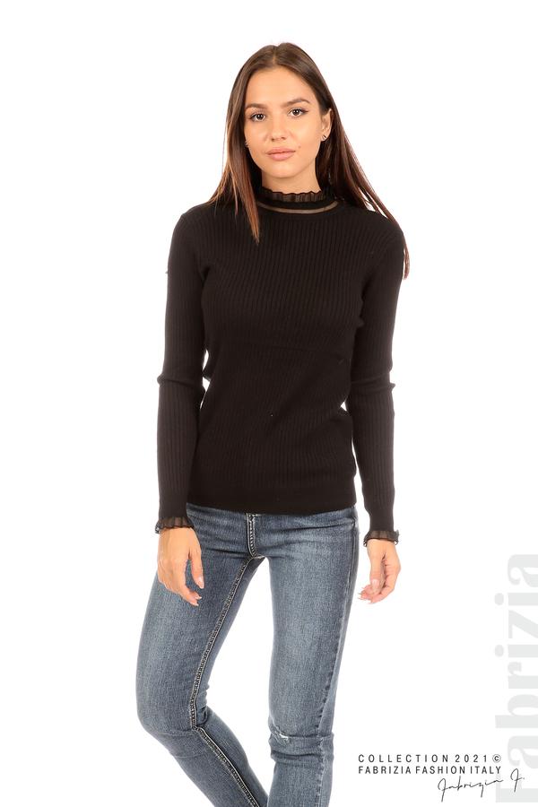 Рипсена блуза с тюлен акцент черен 4 fabrizia