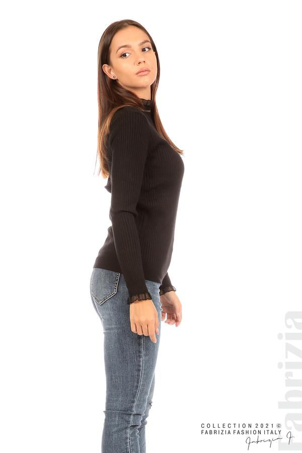 Рипсена блуза с тюлен акцент черен 5 fabrizia