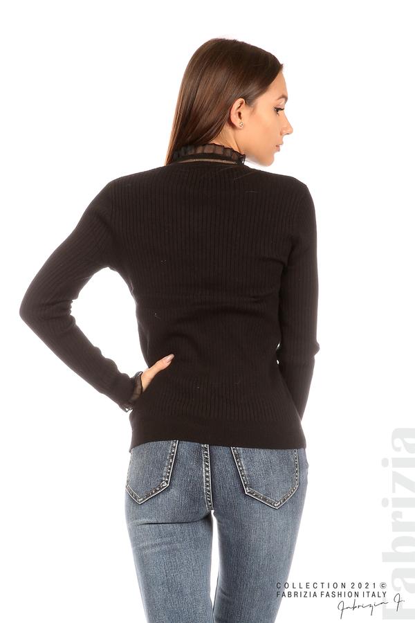 Рипсена блуза с тюлен акцент черен 6 fabrizia