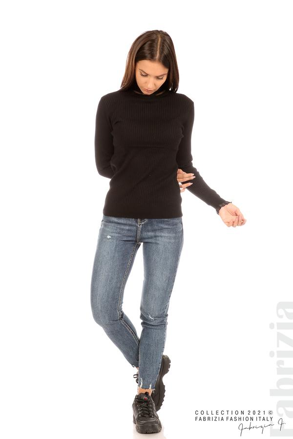 Рипсена блуза с тюлен акцент черен 3 fabrizia