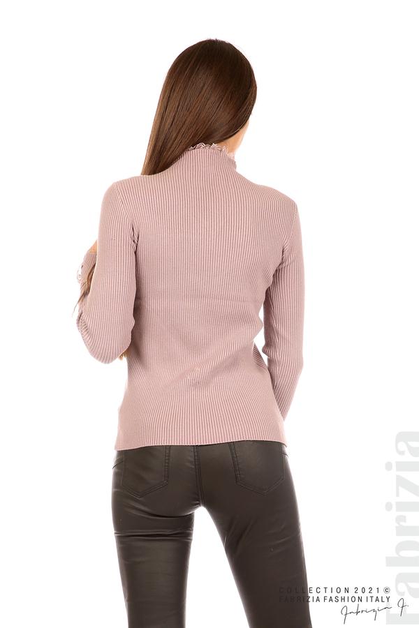 Блуза рипс с дантела и акцент прeдна част лилав 6 fabrizia