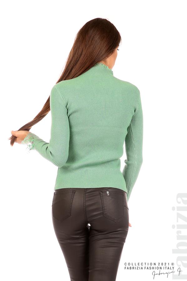 Блуза рипс с дантела и акцент прeдна част бл.зелен 6 fabrizia