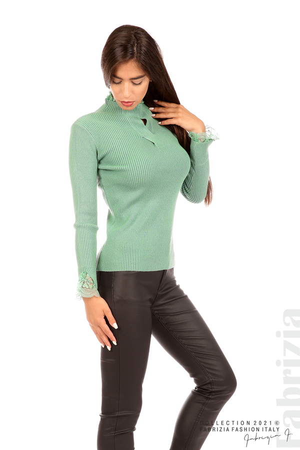Блуза рипс с дантела и акцент прeдна част бл.зелен 4 fabrizia