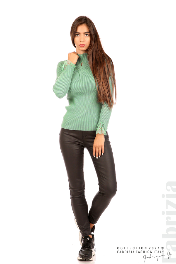Блуза рипс с дантела и акцент прeдна част бл.зелен 3 fabrizia