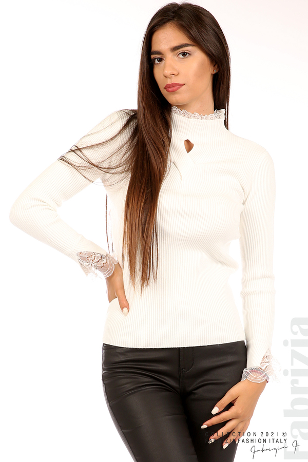 Блуза рипс с дантела и акцент прeдна част бял 2 fabrizia