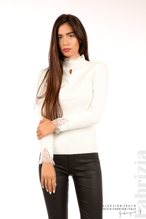 Блуза рипс с дантела и акцент прeдна част бял 4 fabrizia