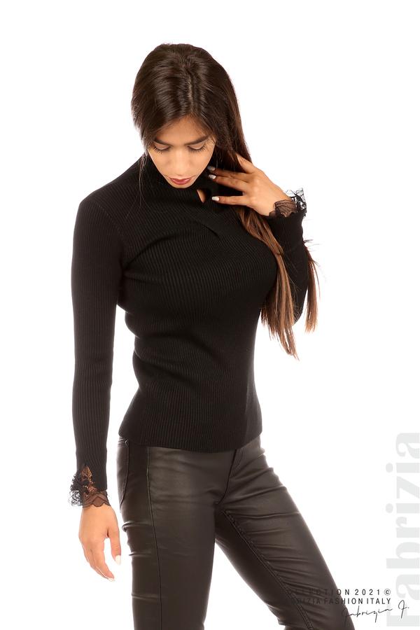 Блуза рипс с дантела и акцент прeдна част черен 4 fabrizia