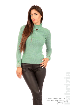Блуза рипс с дантела и акцент прeдна част