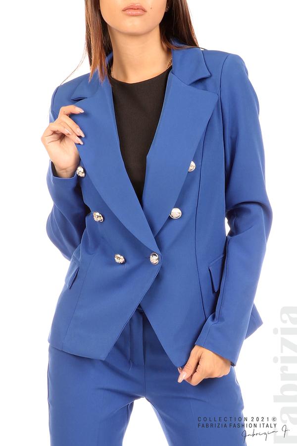 Едноцветно сако с двуредно закопчаване кр.син 2 fabrizia