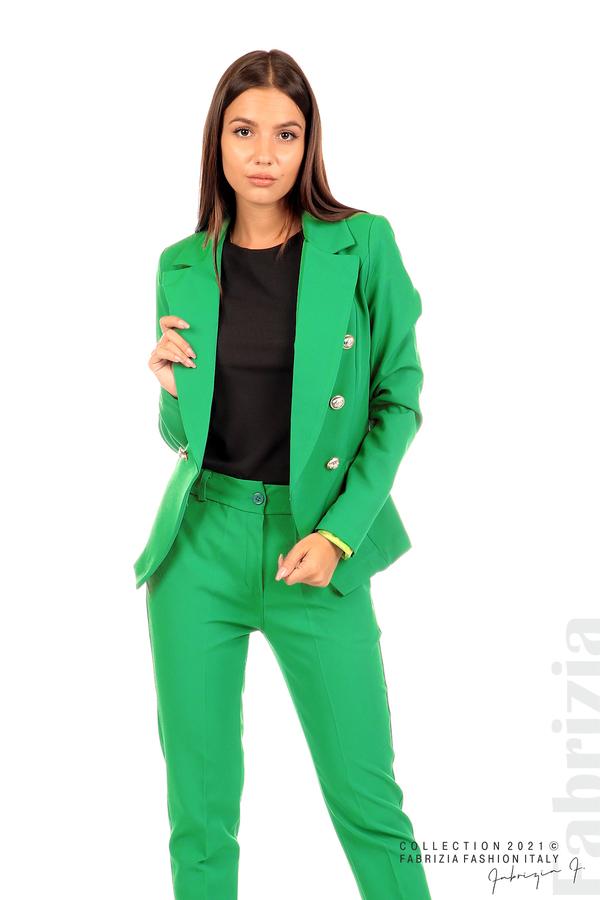 Едноцветно сако с двуредно закопчаване зелен 1 fabrizia