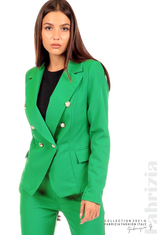 Едноцветно сако с двуредно закопчаване зелен 2 fabrizia