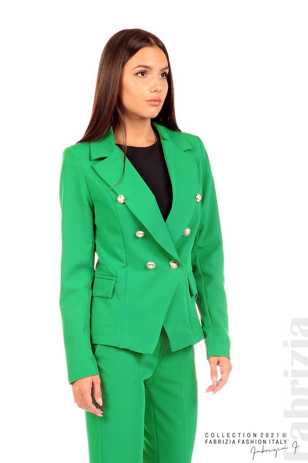 Едноцветно сако с двуредно закопчаване зелен 4 fabrizia