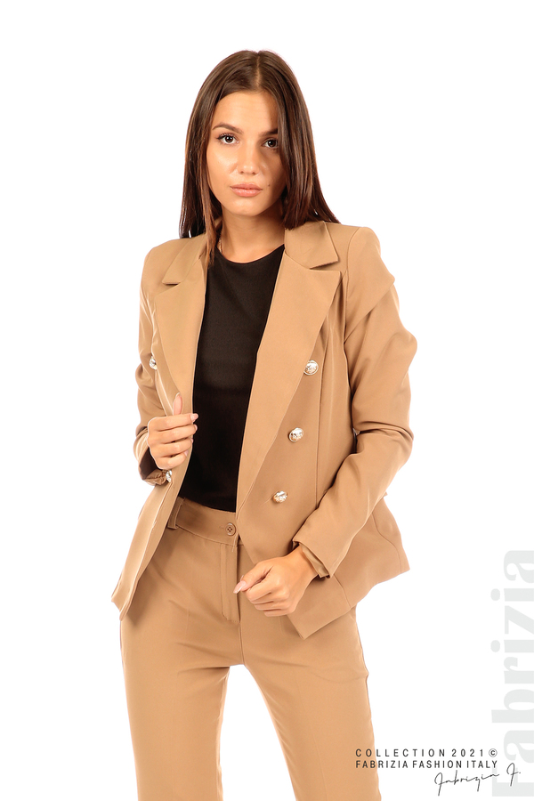 Едноцветно сако с двуредно закопчаване капучино 1 fabrizia