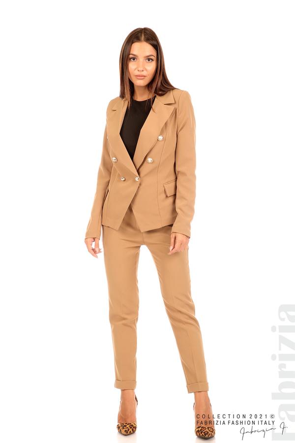 Едноцветно сако с двуредно закопчаване капучино 3 fabrizia