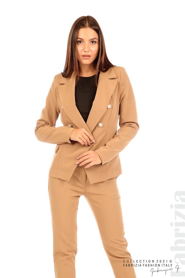 Едноцветно сако с двуредно закопчаване капучино 4 fabrizia