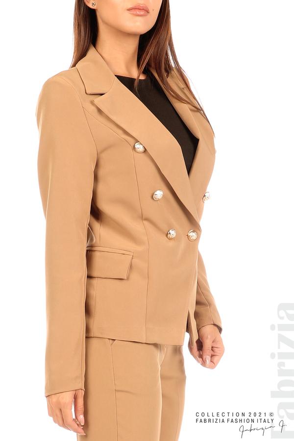 Едноцветно сако с двуредно закопчаване капучино 2 fabrizia