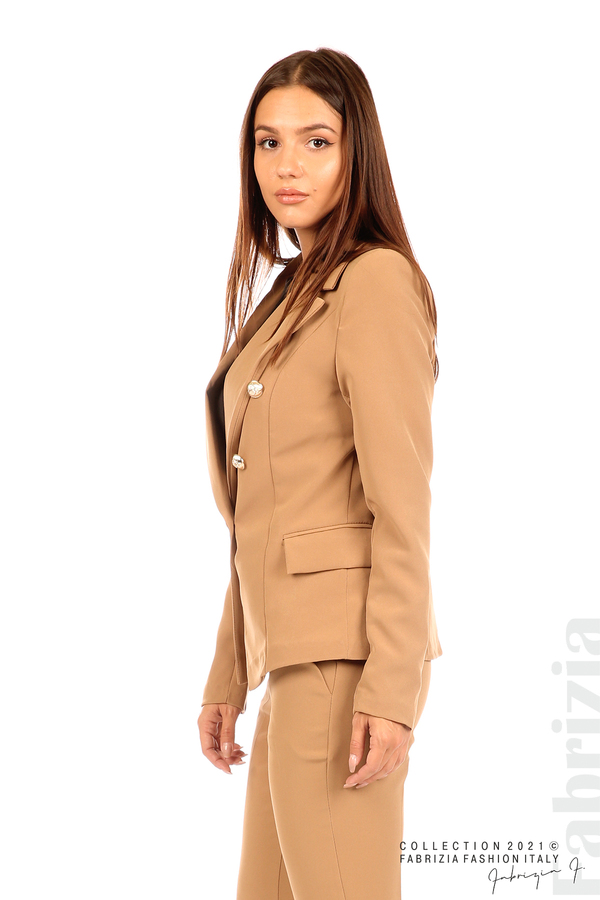 Едноцветно сако с двуредно закопчаване капучино 5 fabrizia