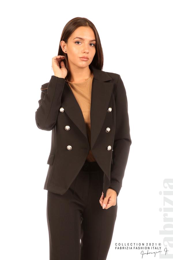 Едноцветно сако с двуредно закопчаване черен 1 fabrizia