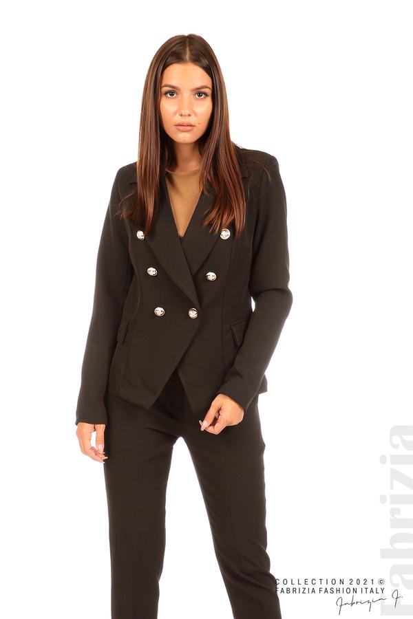 Едноцветно сако с двуредно закопчаване черен 5 fabrizia